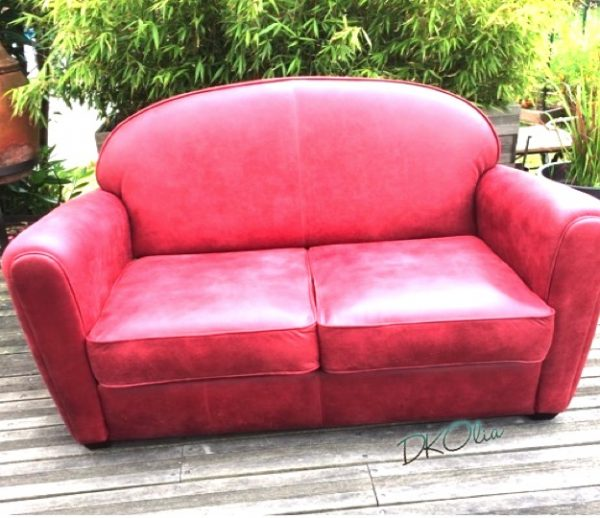 canapé club cuir rouge